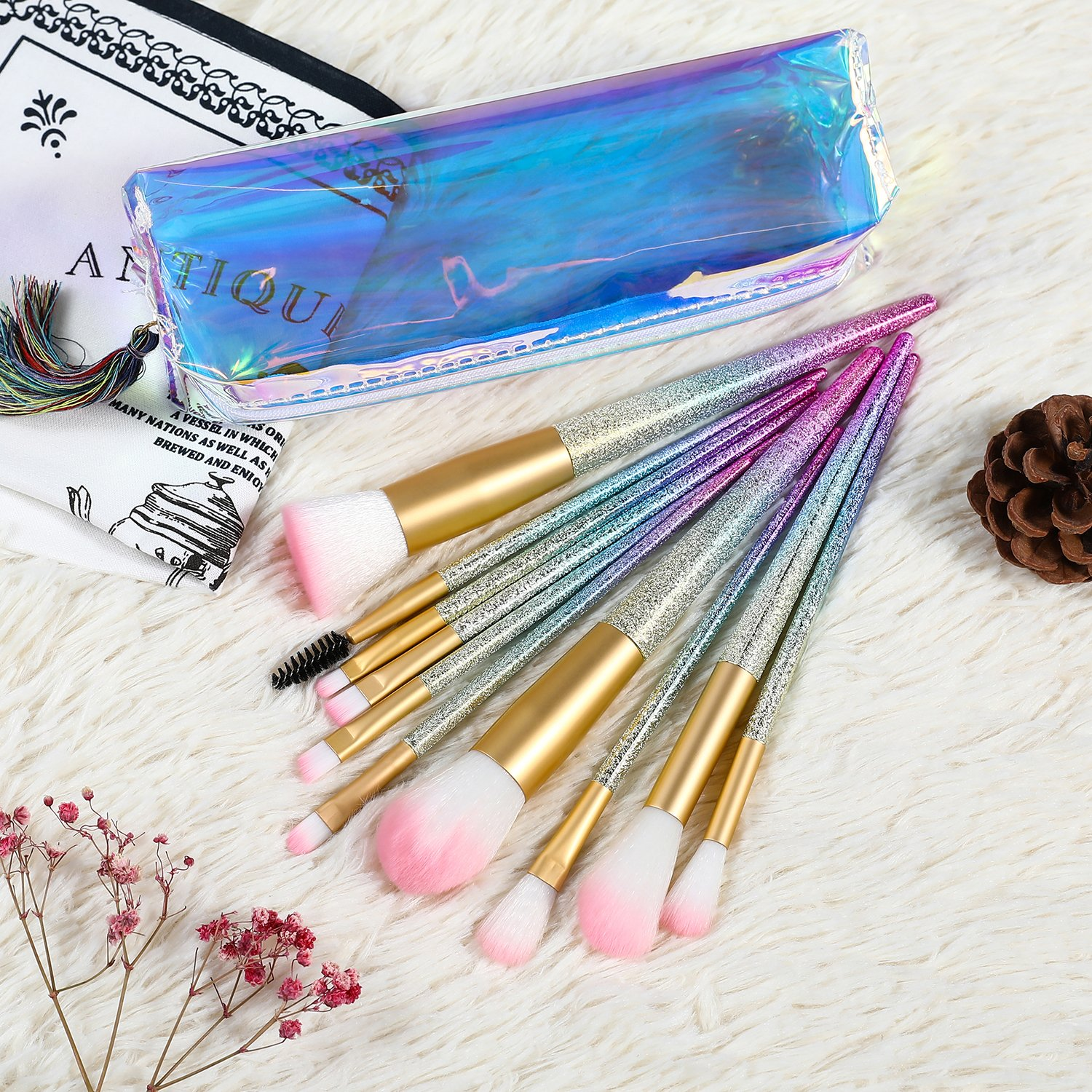 SAILINE 2018 NEW Colorful Makeup Brushes Sets 10Pcs Professional Foundation Powder Eyeshadow Blending Concealer Cosmetics Tools Rainbow Gradient Colors kits With Storage Bag