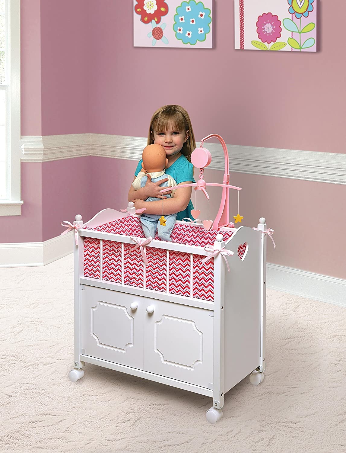 Amazon.com: Badger Basket Cabinet Doll Crib With Bedding And Mobile (fits  American Girl Dolls), Chevron/White/Pink: Toys U0026 Games