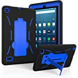 """Amazon Fire 7"""" 2017 Case, EpicGadget(TM) 7th Generation Fire 7 Heavy Duty Hybrid Case Full Protection Cover with Kickstand For Fire 7 inch Display + Screen Protector and 1 Stylus (Black/Blue)"""