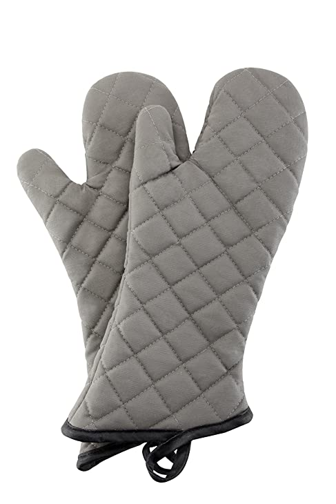 Oven Mitts 1 Pair of Quilted Cotton Lining - Heat Resistant Kitchen Gloves, Flame Oven Mitt Set