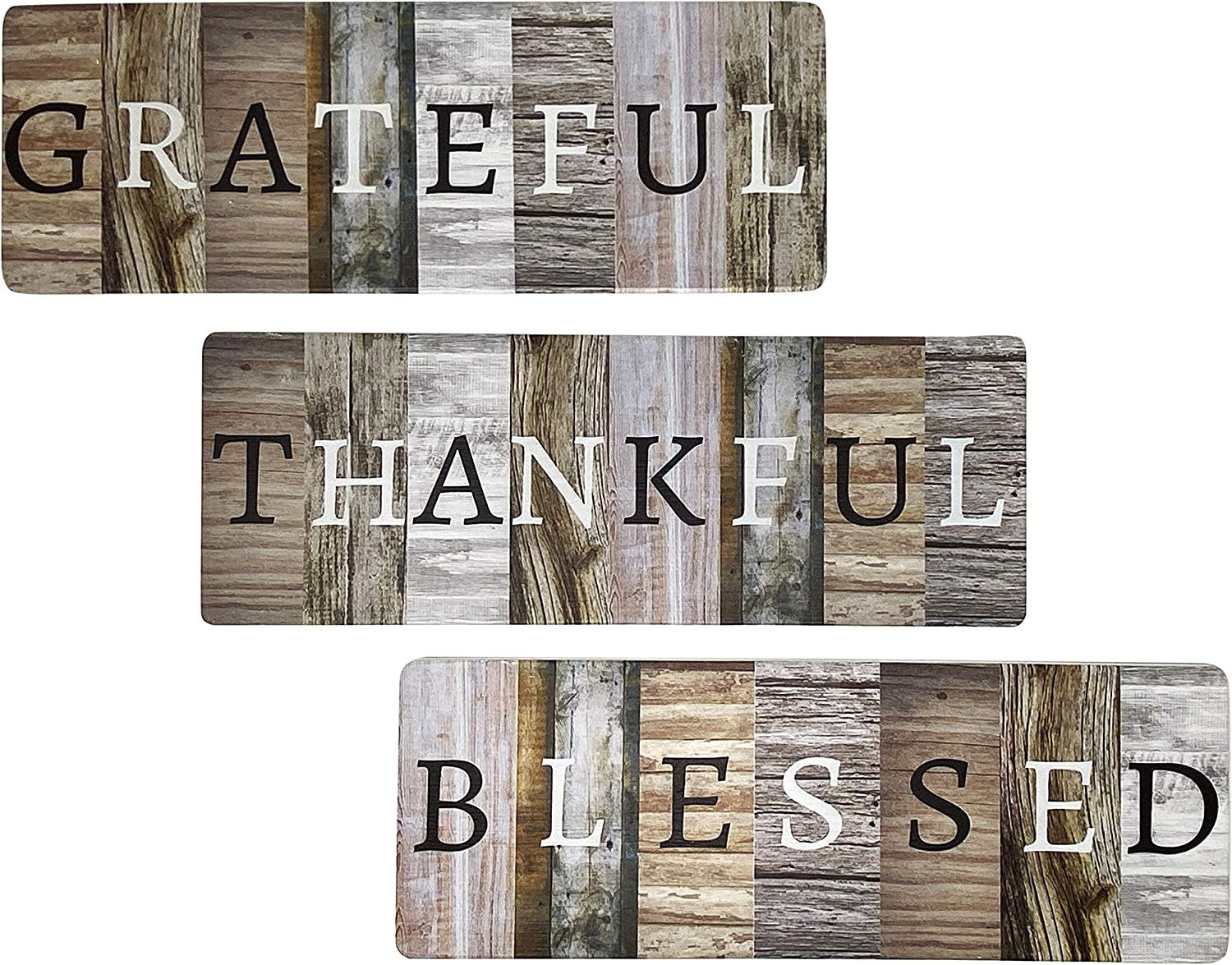 """Chiaravita Rustic Farmhouse Grateful Thankful Blessed Home Decor Sign - Solid Wood 17.1"""" x 6"""" Inspirational Wall Art Signs for Living Room, Dining Room, Kitchen, Bedroom, Bathroom and Home"""