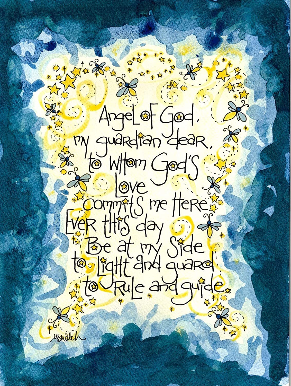 Baptism Gift - Guardian Angel Prayer Art by Dovetail Ink (8x10 inches)