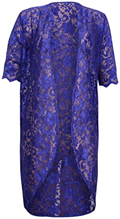 PurpleHanger Women s Floral Lace Scallop Cardigan Top Plus Size Royal Blue  10 at Amazon Women s Clothing store  83fd1bb2e