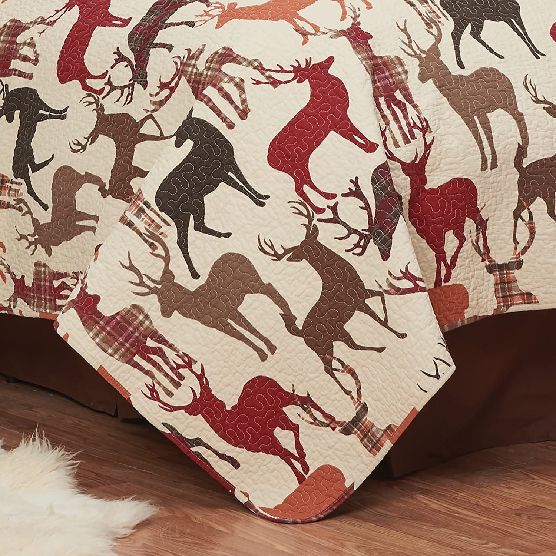 C/&F Home Buck Hooked Pillow 18 x 18 Deer Red C/&F Enterprises