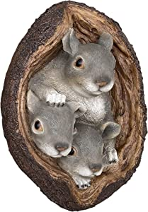 "Bella Haus Design Squirrel Tree Wall Mount 7""x11"" - Polyresin Wall Sculpture Ornament for Indoor or Outdoor Decor - Squirrel Tree Faces Animal Garden Decorations"