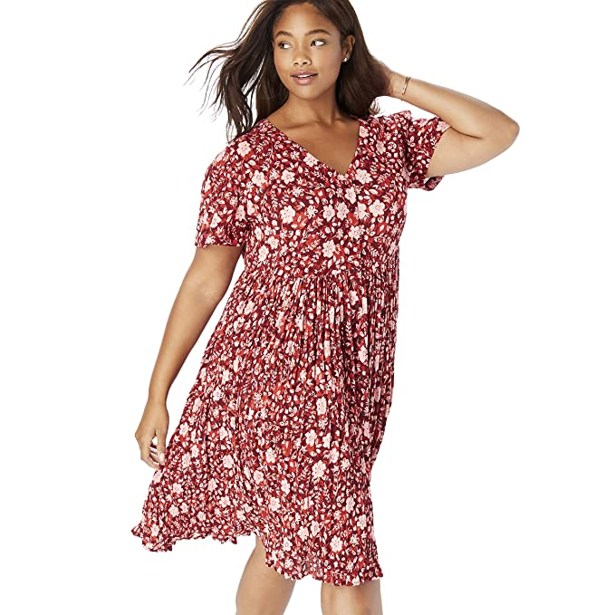 Woman Within Women\'s Plus Size Short Button-Front Crinkle Dress at ...