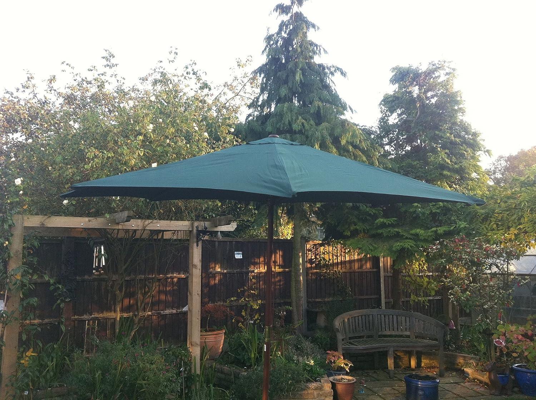 Nuevo Verde para sombrilla de madera para jardín 3 m redondo. CUERDA PARA FUNCIONAMIENTO HACIA ARRIBA Y ABAJO: Amazon.es: Hogar