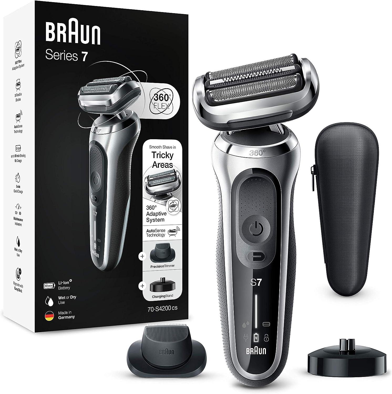 Braun Series 7 70-S4200Cs Afeitadora Eléctrica, máquina de afeitar Hombre De Lámina Con Base De Carga, Recortadora De Precisión, Uso En Seco Y Mojado, Recargable, Inalámbrica, Plata