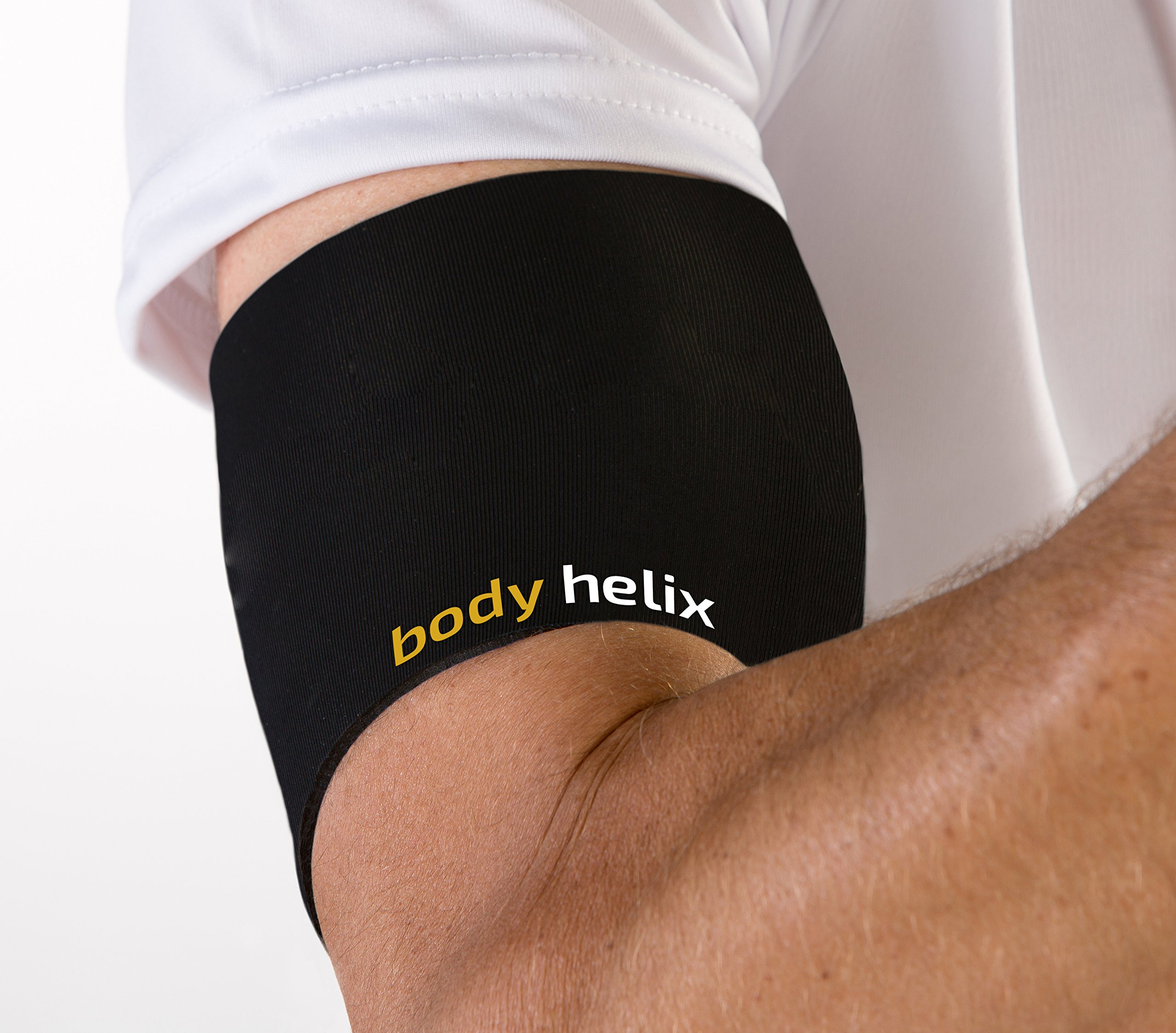 body helix Arm Compression Sleeve Wrap - Pain Relief for Bicep and Tricep Muscle Strains (Black, Small)
