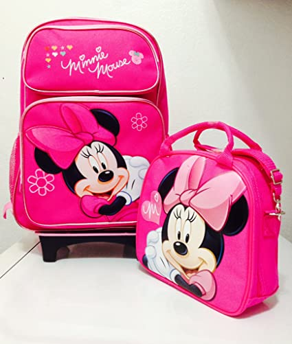 9509b1fd786a Disney Minnie Mouse Rolling Backpack with Detachable Wheeled Trolley-  16 quot  Large PINK   Disney