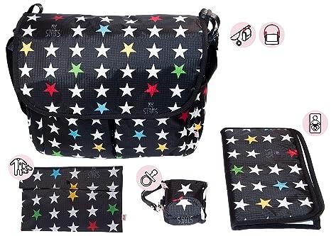 My Bags Kit Bolso Carro Bebe Universal + Cambiador + Portatoallitas + Porta Chupetes Negro Estampado Estrellas