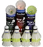 RiteTrak Sports Badminton Shuttlecock Variety GIFT PACK with Nylon, Feather and Light-Up Assortment by, 15-pack of 3 Styles of Birdies in 3 Storage Tubes