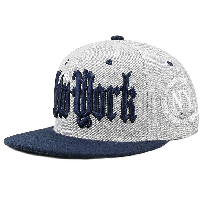 db874db33b736 Amazon.com  THE HAT DEPOT 1300DHGny Designed Heather Grey New York Snapback  Cap (Grey)  Clothing