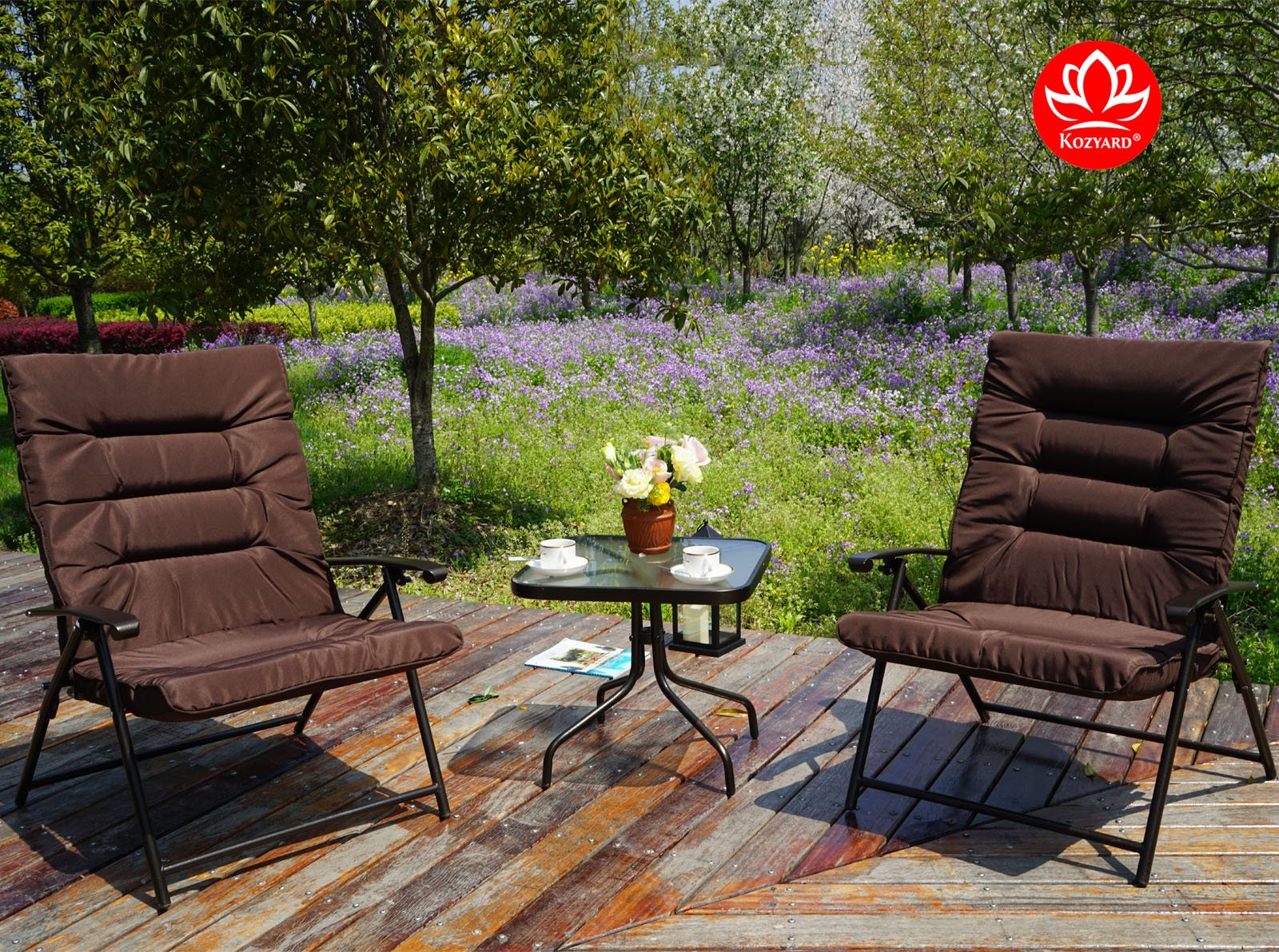 Kozyard Elsa 3 Pieces Outdoor Patio Furniture Padded Folding Sets for Yard, Patio, Deck or Backyard by Kozyard (Image #4)