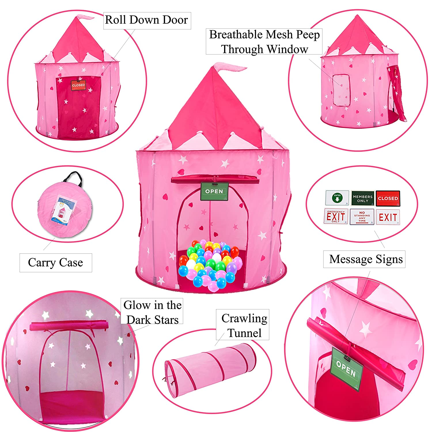 916d7f87525d Amazon.com  Play Kreative Glow in The Dark Pink Princess Castle Tent with  Crawling Tunnel and Carry Case. Foldable pop up Pink Castle Playhouse with  Red ...
