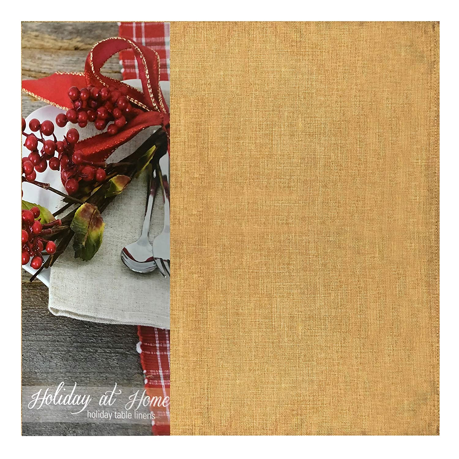 52 X 70 Oblong Gold Newbridge Penington Solid Woven No-Iron Soil Resistant Fabric Tablecloth