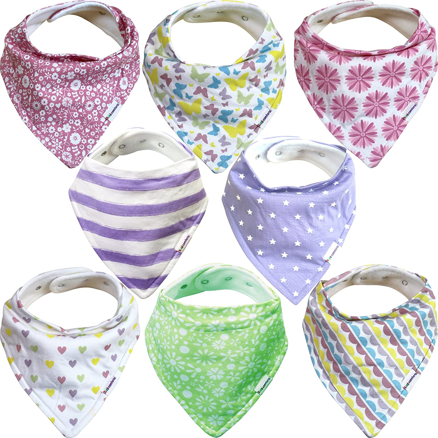 Baby Bandana Bibs for Girls – 8 Pack Baby Drool Bib Gift Set, Organic Cotton, 3 Snaps to Fit All Neck Sizes, Soft, Extra Absorbent, Easy to Clean, Perfect Baby Shower Gift Set Aspiire Limited KC6051