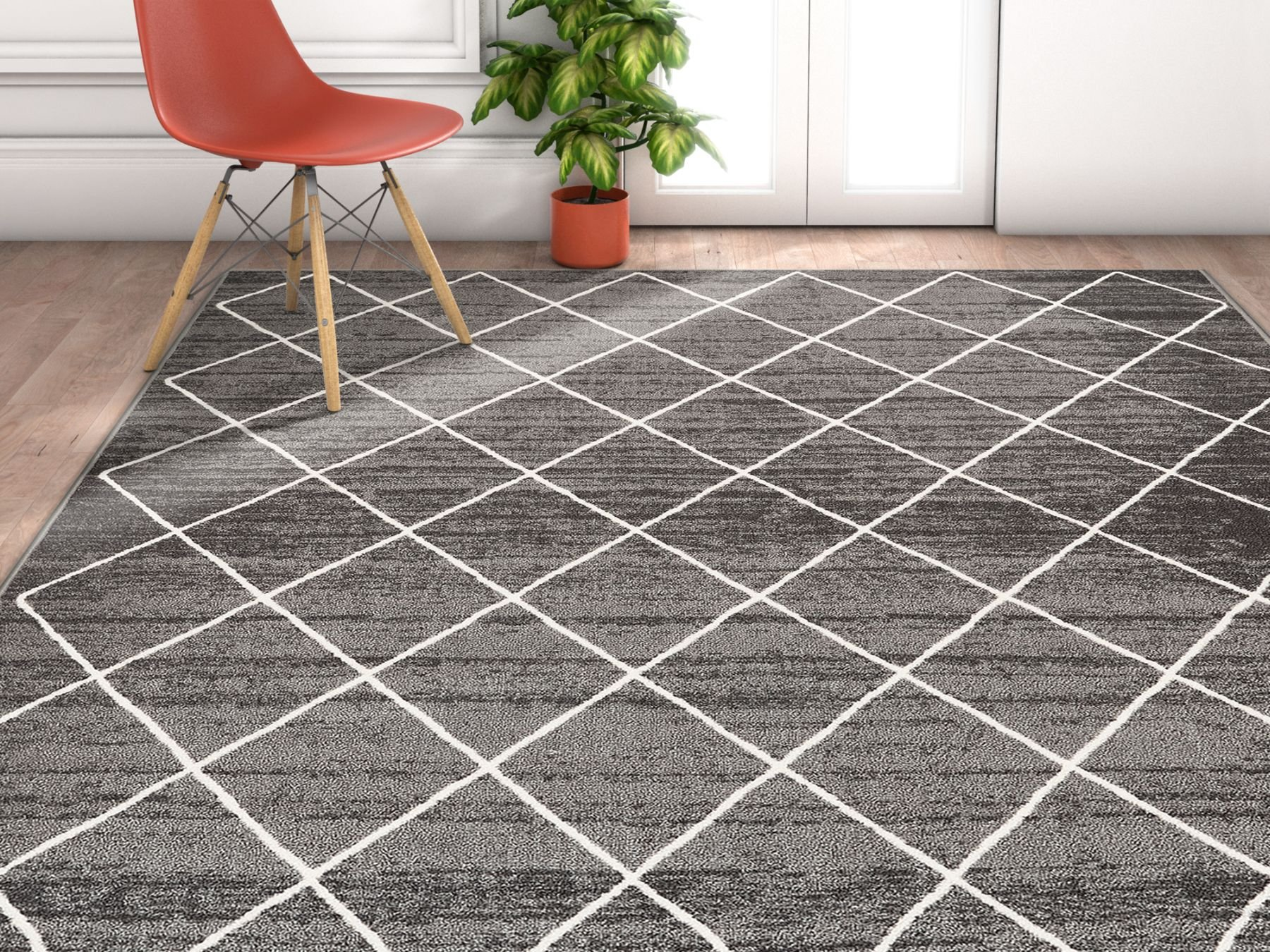 Non-Skid / Slip Rubber Back Antibacterial 8x11 (7'10''x9'10'') Diamond Lattice Print Grey Thin Low Pile Machine Washable Indoor Outdoor Area Rug by Well Woven