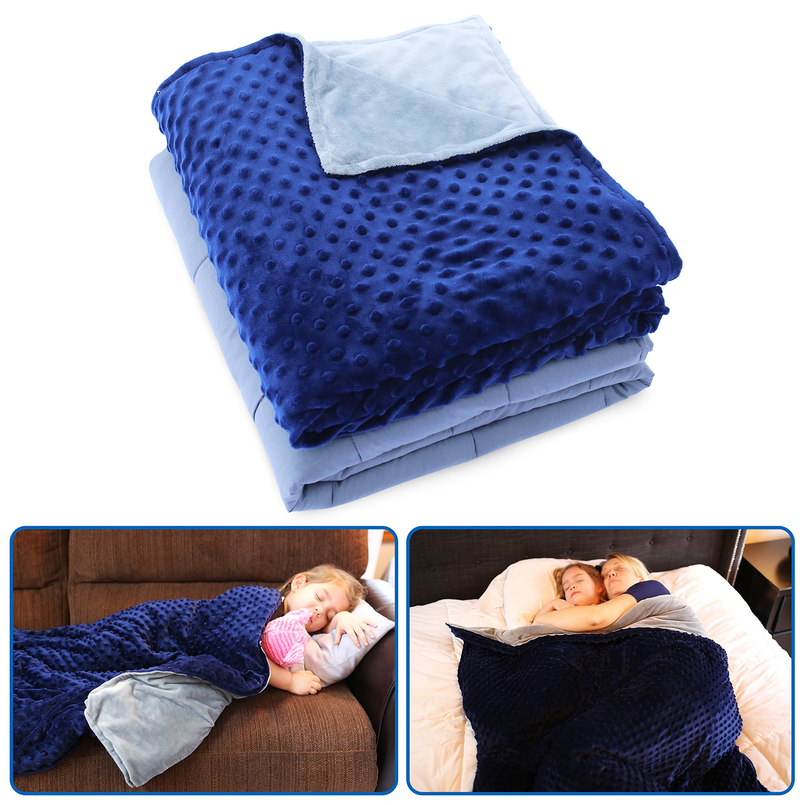 Weighted Blanket with Duvet Cover by Borbona - PROFITS GO TO CHARITY - Perfect for Children and Adults with Autism, Sensory Needs, OCD, or Anxiety - Use as Throw Blanket on Bed/Couch - (45''x70'') 12LBS