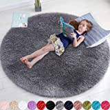 Gray Round Rug for Bedroom,Fluffy Circle Rug 4'X4' for Kids Room,Furry Carpet for Teen's Room,Shaggy Circular Rug for Nursery