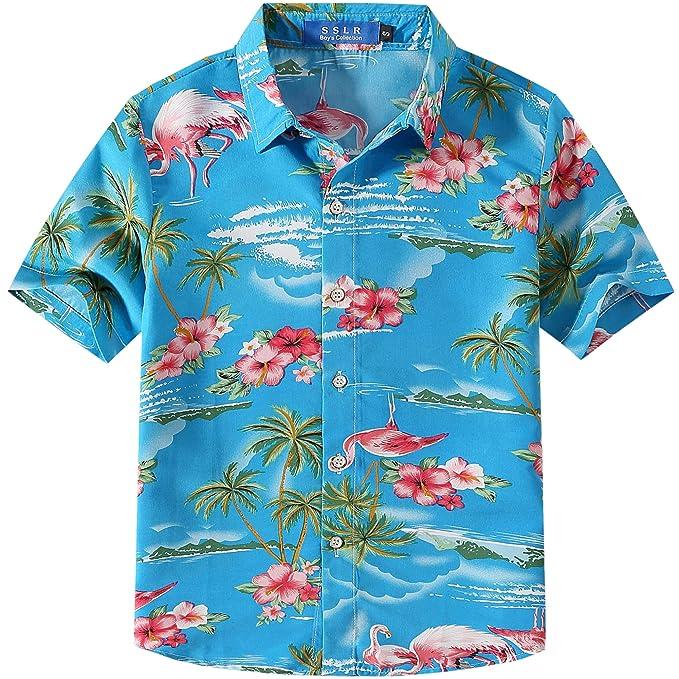 6624f59ca SSLR Big Boy's Flamingos Button Down Short Sleeve Aloha Hawaiian Shirt  (XX-Small(
