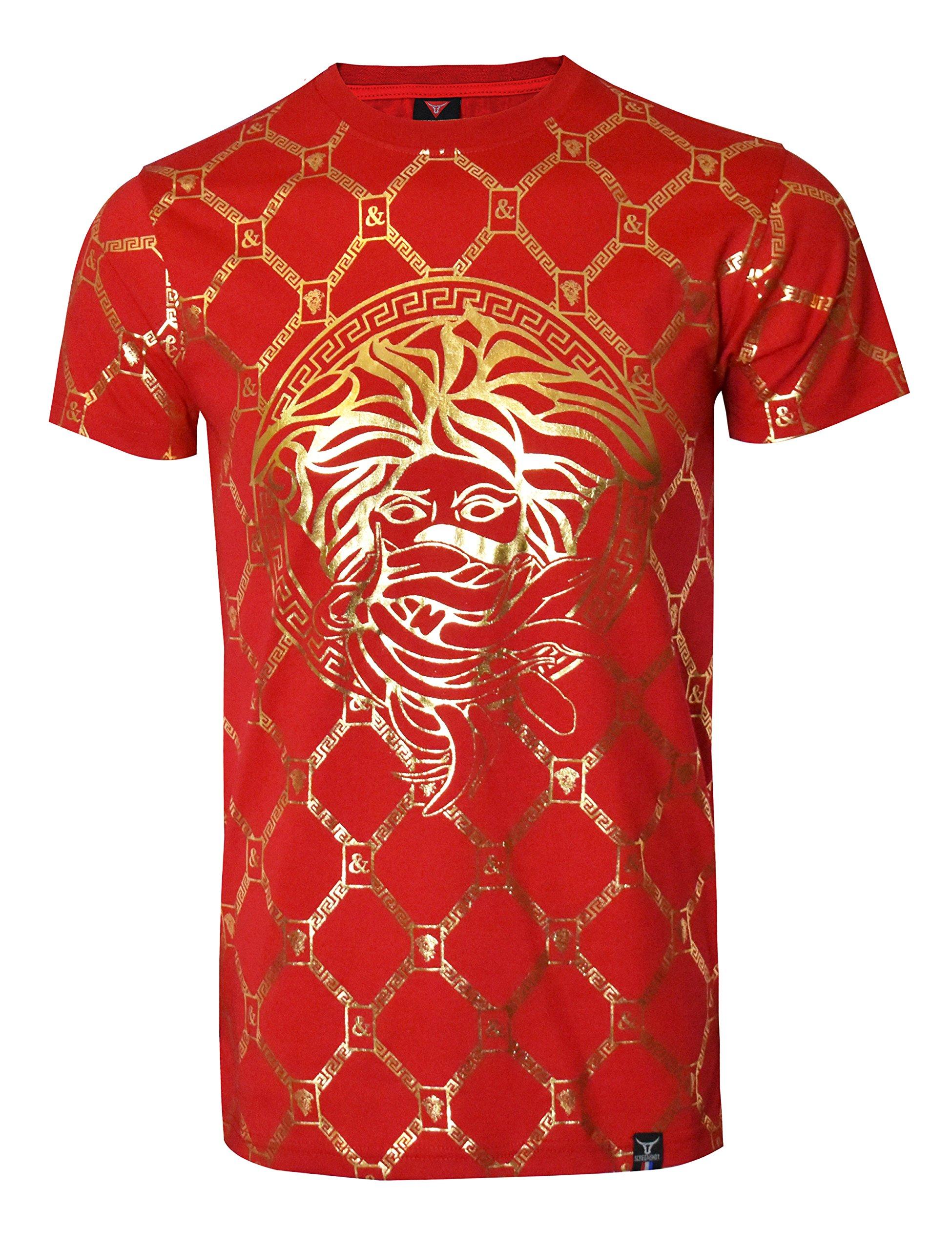 SCREENSHOTBRAND-S11821 Mens Hipster Hip-Hop Premium Tees - Stylish Longline Fashion Luxury T-Shirt Medusa Gold Print - Red - Large