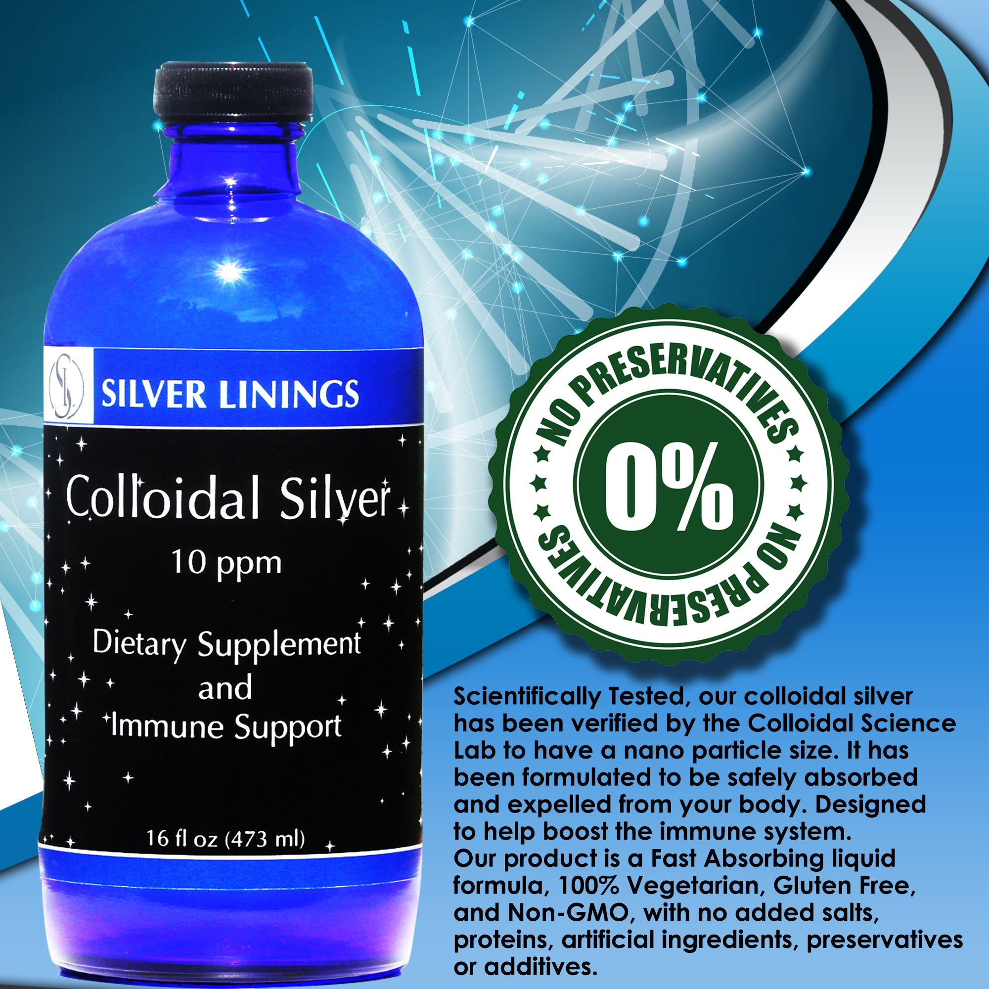 Silver Linings Colloidal Silver Hydrosol, 10 PPM, A Powerful Natural Antibiotic, and Preventative Measure Against Infection, Immune Support, Safe for Adults, Kids, Pets, and Plants, 16 oz by Silver Linings (Image #5)