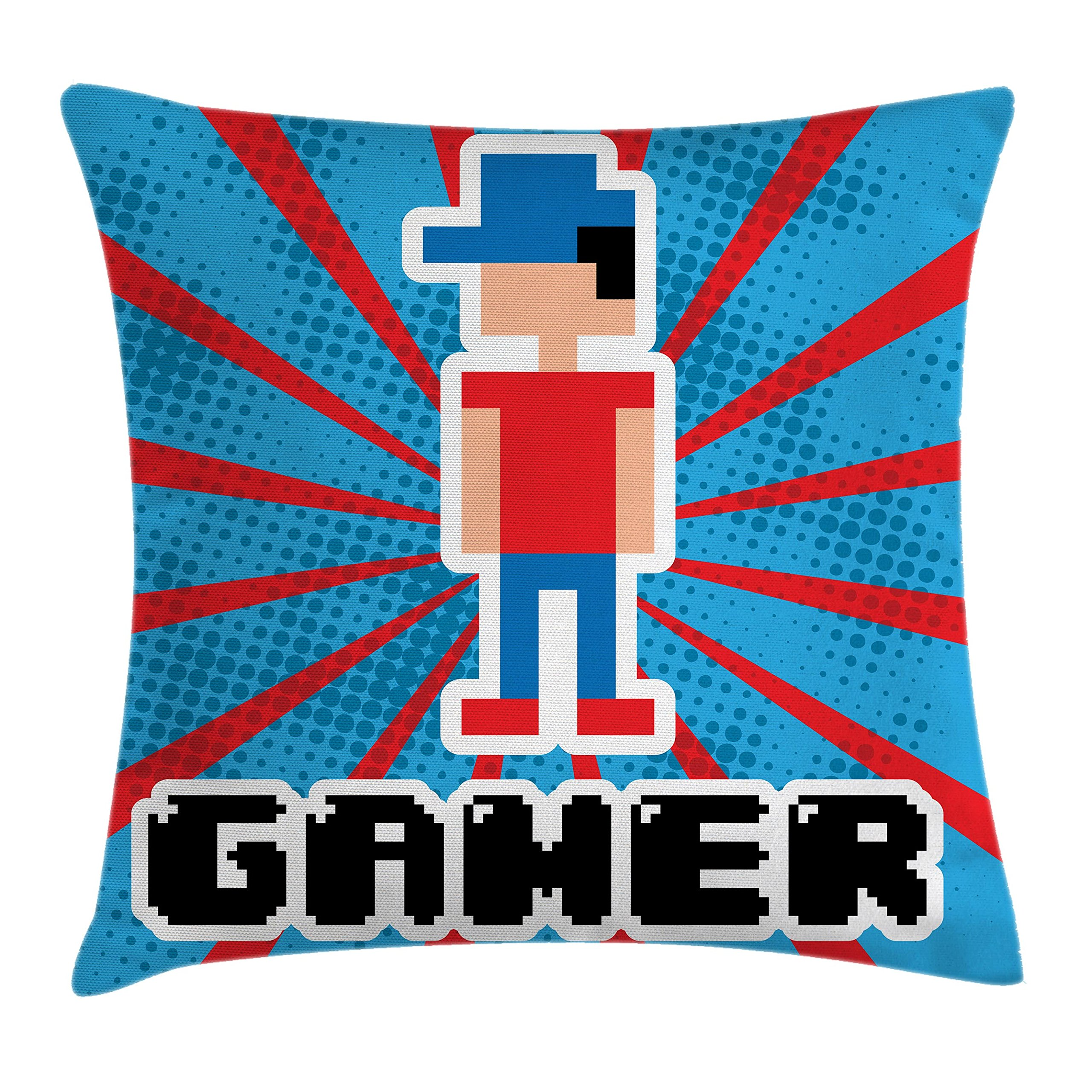 Ambesonne Video Games Throw Pillow Cushion Cover, Blue and Red Striped Boom Beams Retro 90's Toys Boy with Cap, Decorative Square Accent Pillow Case, 18 X 18 Inches, Vermilion Blue White Black