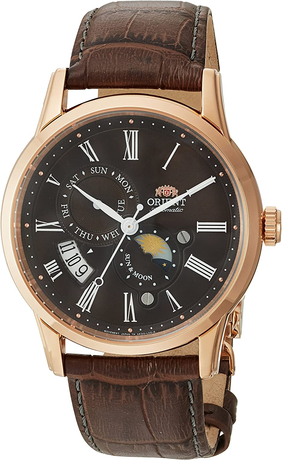 Orient Men s Sun and Moon Version 3 Stainless Steel Japanese-Automatic Watch with Leather Calfskin Strap, Brown, 22 Model FAK00003T0