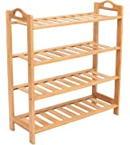 BirdRock Home Free Standing Bamboo Shoe Rack with Handles   6 Tier   Wood   Closets and Entryway   Organizer   Fits 18 Pairs of Shoes