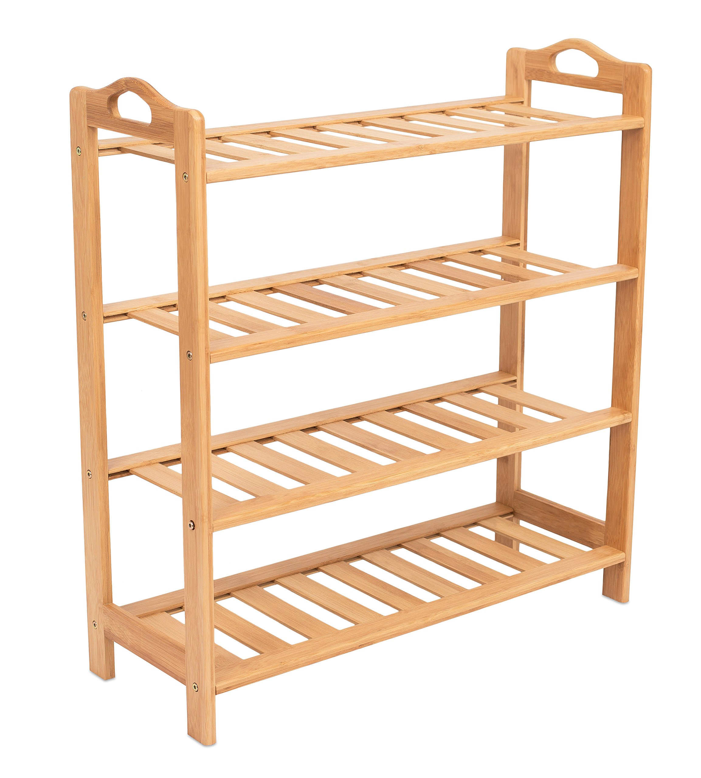 BirdRock Home Free Standing Bamboo Shoe Rack with Handles | 4 Tier | Wood | Closets and Entryway | Organizer | Fits 12 Pairs of Shoes