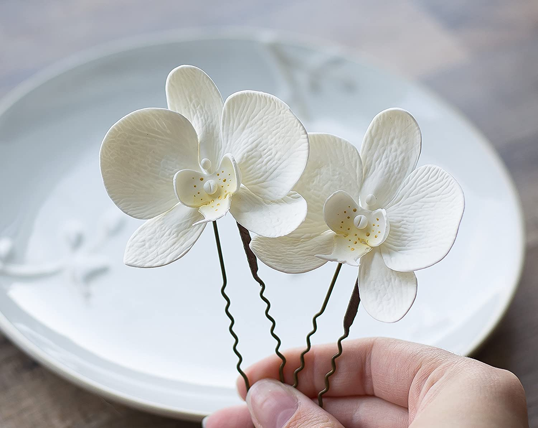White flower hair pins - orchid hair pins - white wedding hair accessories - white hair pins - bridal hair flowers