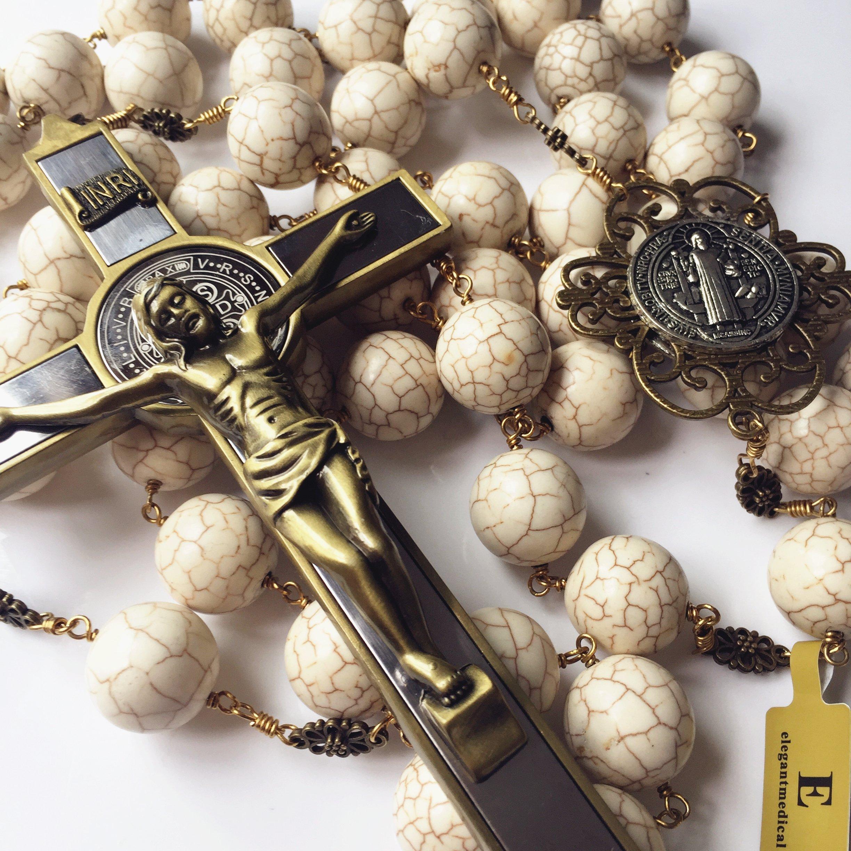 elegantmedical Handmade Large 20mm White howlite Beads Home St.Benedict Wall Rosary Catholic Cross/Crucifix Box Gifts