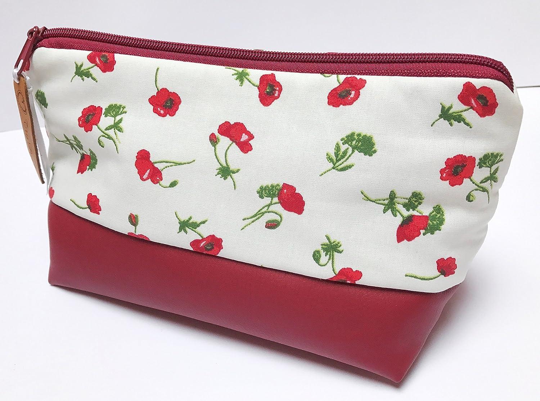 66f4abc888571 TryPinky® XL Handmade Kulturtasche Mohnblumen auf Weiß Kunstleder ...