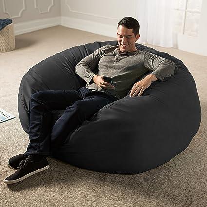 Surprising Jaxx 5 Foot Saxx Big Bean Bag Chair For Adults Black Unemploymentrelief Wooden Chair Designs For Living Room Unemploymentrelieforg