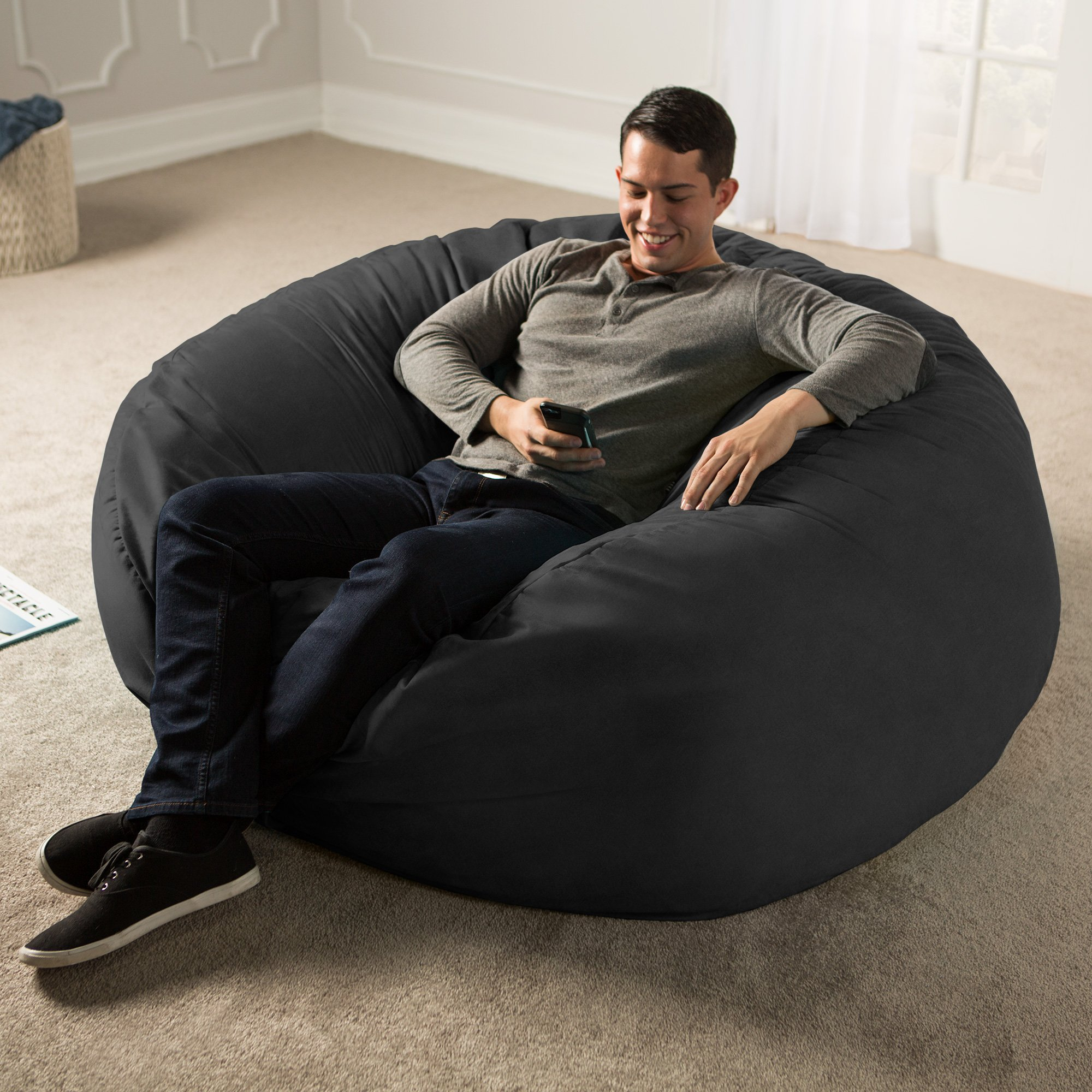 Jaxx 5 Foot Saxx - Big Bean Bag Chair for Adults, Black