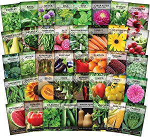 Sow Right Seeds - Complete Garden Seed Collection for Planting - 40 Non-GMO Heirloom Vegetable, Herb and Flower Varieties. Every Seed You Need to Plant and Grow a Bountiful Home Garden - Great Gift