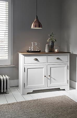 2 Drawer Cupboard Dark Pine And White Canterbury Cabinet Sideboard Noa U0026  Nani
