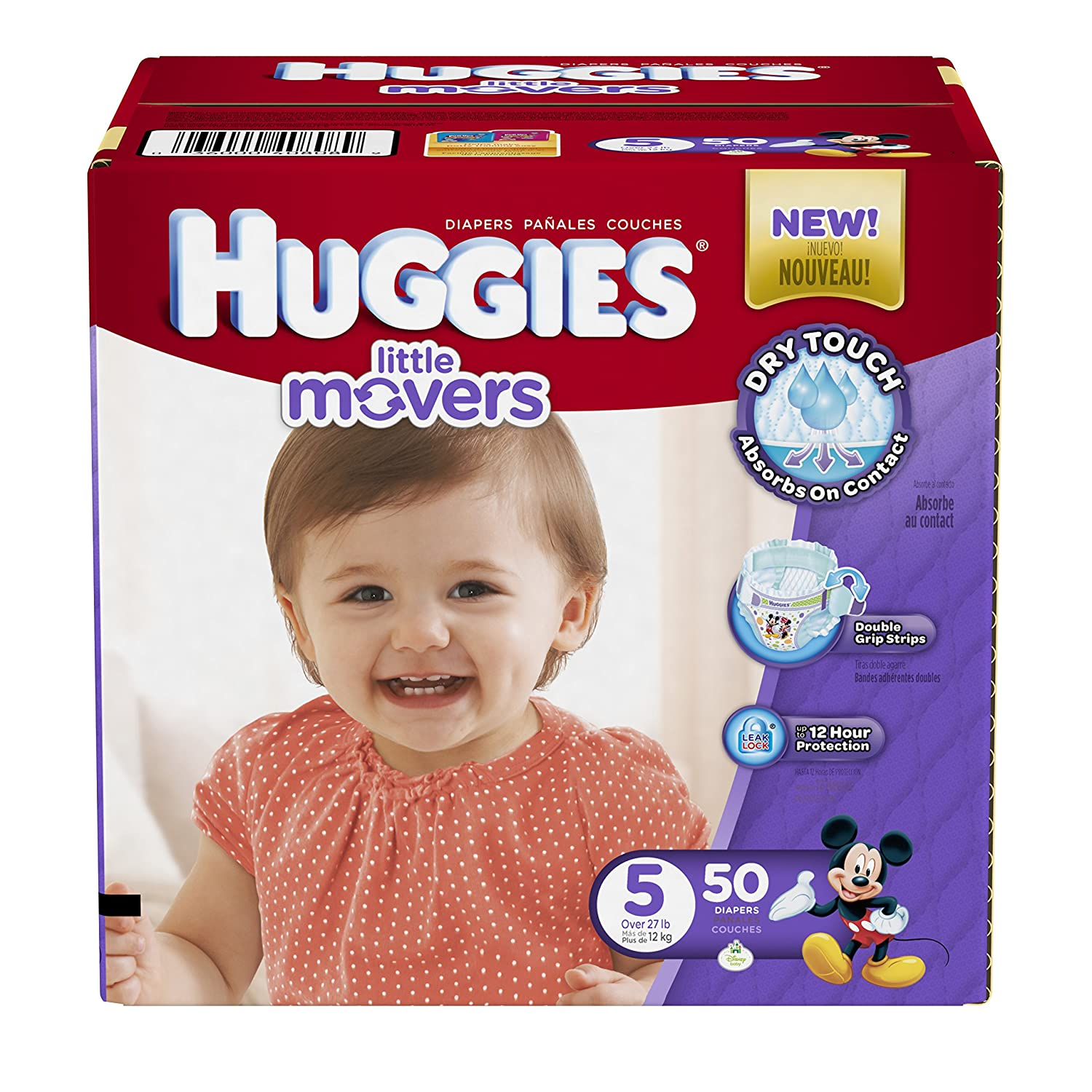 Amazon.com: Huggies Little Movers Diapers, Size 5, 50 Count (Packaging may vary): Prime Pantry