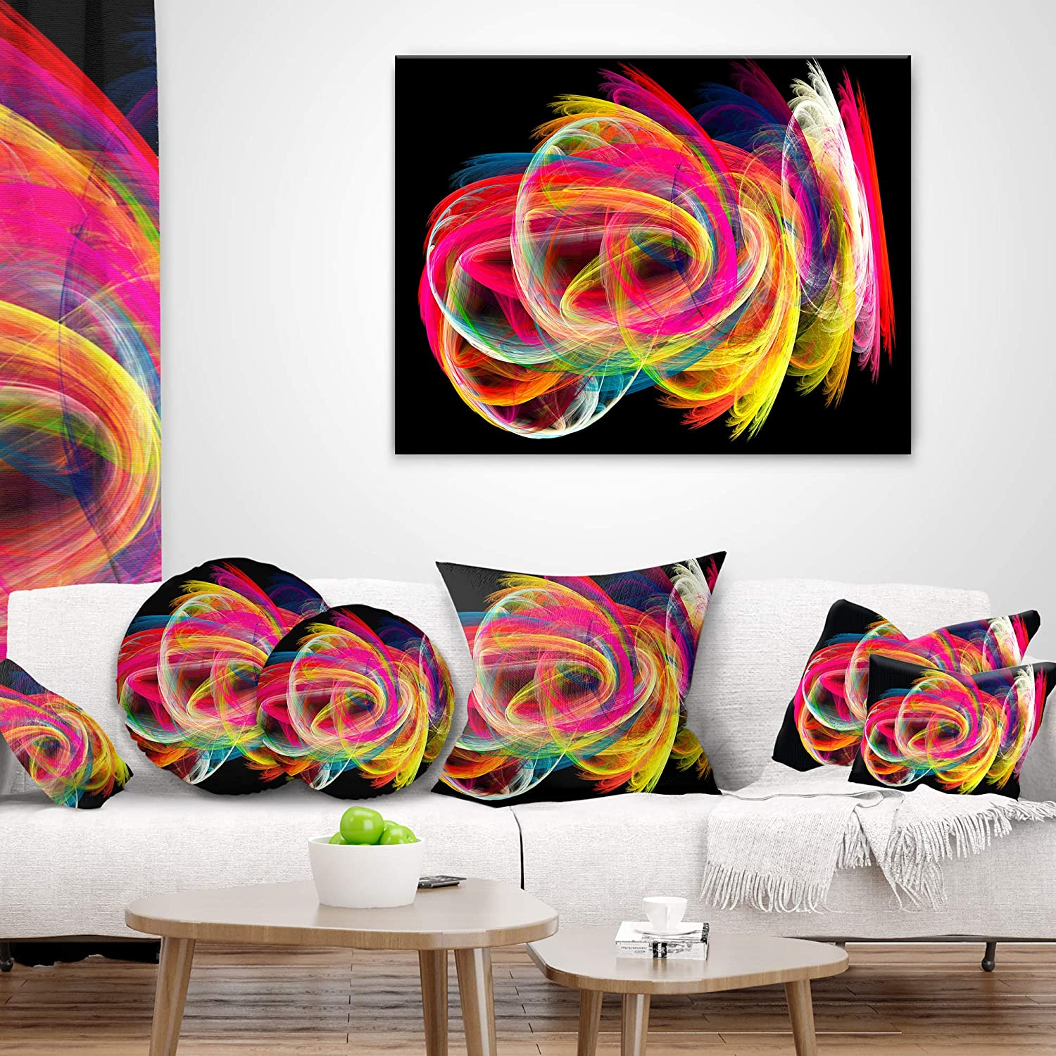 Designart CU8021-12-20 Colorful Thick Strokes in Black Abstract Lumbar Cushion Cover for Living Room in Sofa Throw Pillow 12 in x 20 in