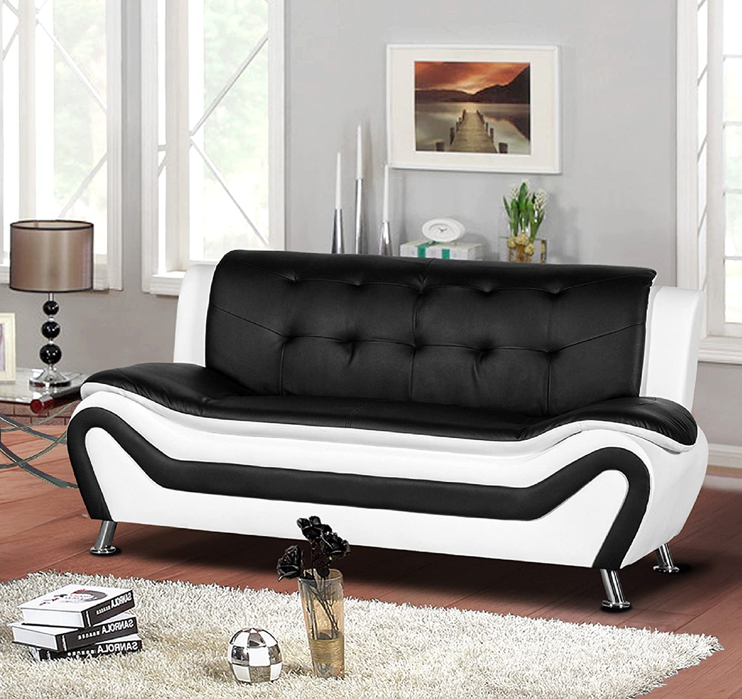 Amazon com container furniture direct s5411 s arul leather air upholstered mid century modern sofa 77 5 black white kitchen dining