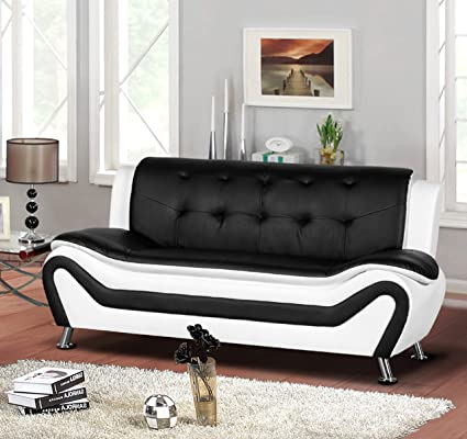 Container Furniture Direct S5411-S Arul Leather Air Upholstered Mid Century  Modern Sofa, 77.5\