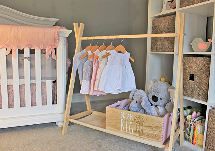 Clothing Rack Nursery Decor Dress Up Station Kids Clothing Storage Folds Up 40x38 Inch Tall Wooden Rack With Canvas Storage Shelf