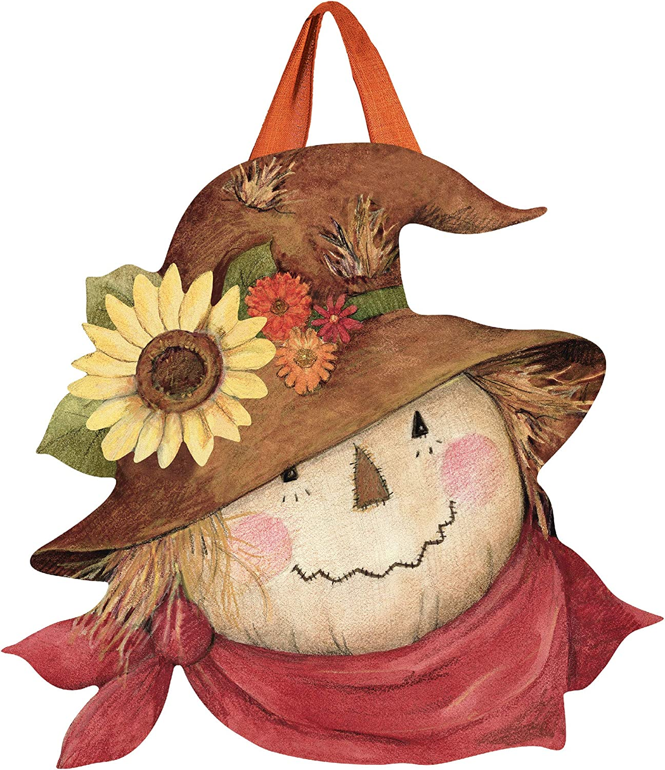 Studio M Autumn Scarecrow Fall Door Décor Decorative Front Door Sign with Colorful Ribbon Hanger, Durable Fade Resistant PVC, Made in The USA, 17.75 x 17.25 Inches