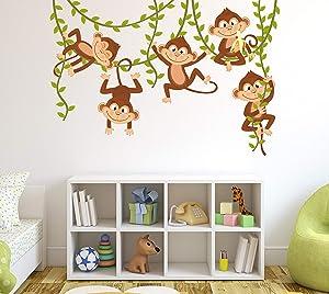 "Monkey Wall Decal Nursery Wall Decor Boy Jungle Baby Room Mural Art Decor Vinyl Sticker (40""W x 26""H)"