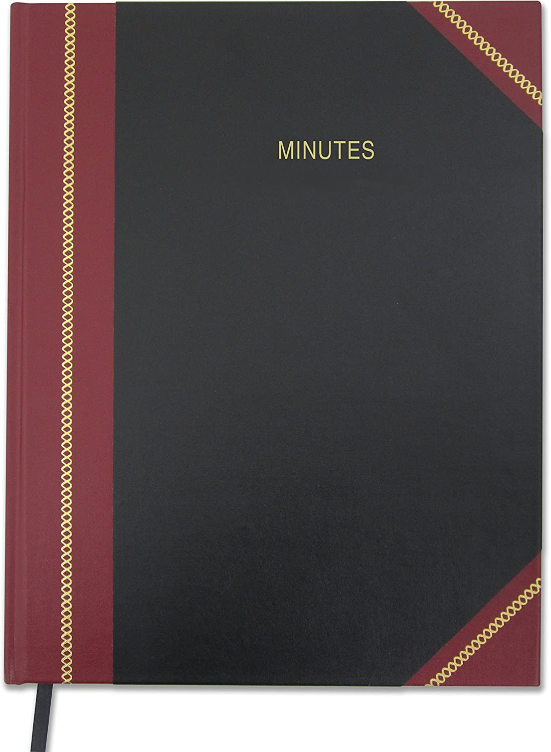 """Minutes Black Ribbon LOG-168-7CS-LKMST75 Smyth Sewn Hardbound BookFactory Minutes Book//Corporate Minutes Book//Board Meeting Minutes LogBook 168 Pages - 8.5 X 11/"""" Black and Burgundy Cover"""