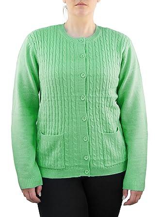 0579e200238f Yarn Art Womens Plus Size Long Sleeve Two Pocket Cable Knit Cardigan Sweater  LightGreen 1X