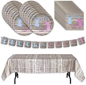 """Havercamp Buck or Doe? Gender Reveal Party Pack for 16 Guests; Including 16 ea. Lg. 9"""" Dinner Plates and Luncheon Napkins and a Decorative Hanging Banner and Lg. Table Cover"""
