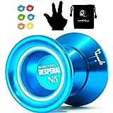 MAGICYOYO Desperado N5 Yoyo Logo-Laser Engrave for All Tricks Yoyo Blue+Yoyo Sack+