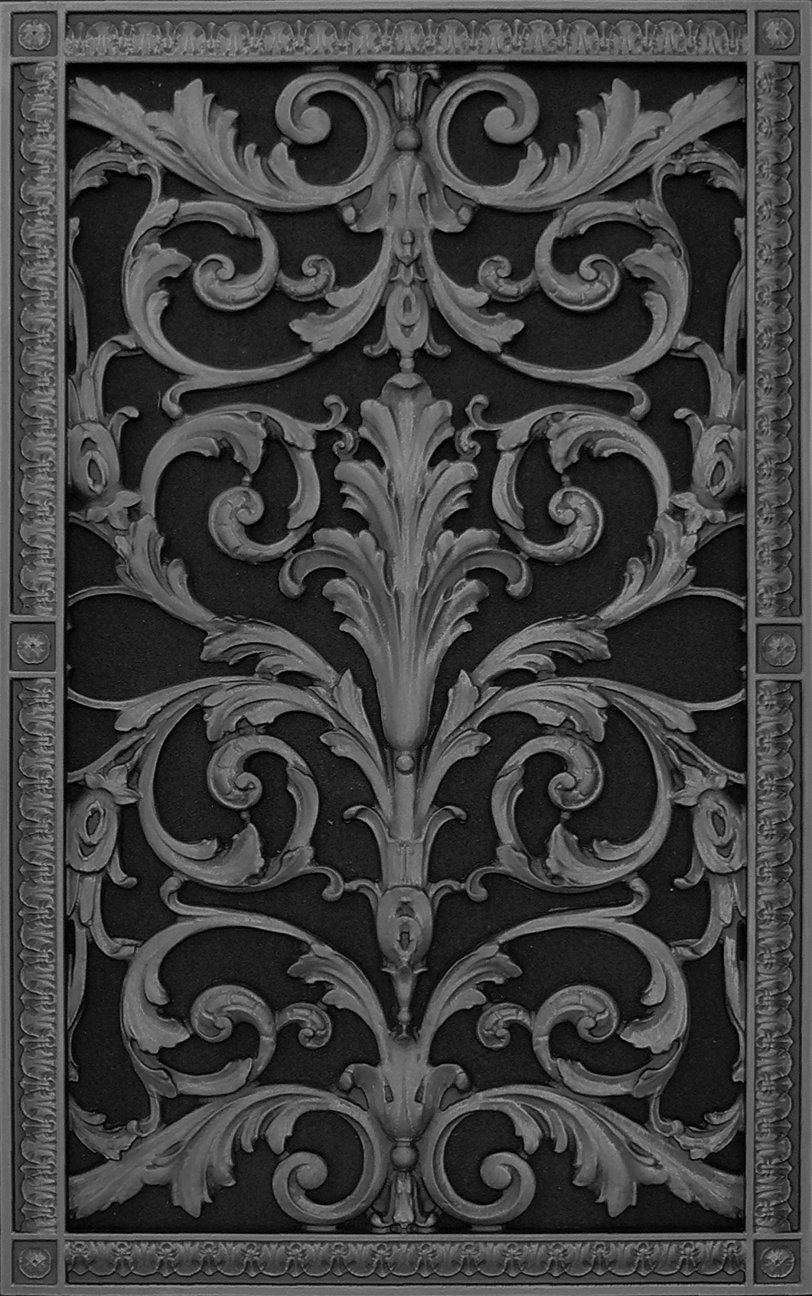 """Decorative Vent Cover, Grille, made of Urethane Resin in Louis XIV, French style fits over a 24""""x 14"""", Total size, 26"""" by 16"""", for wall & ceiling installation only. (not for floors) (Black)"""